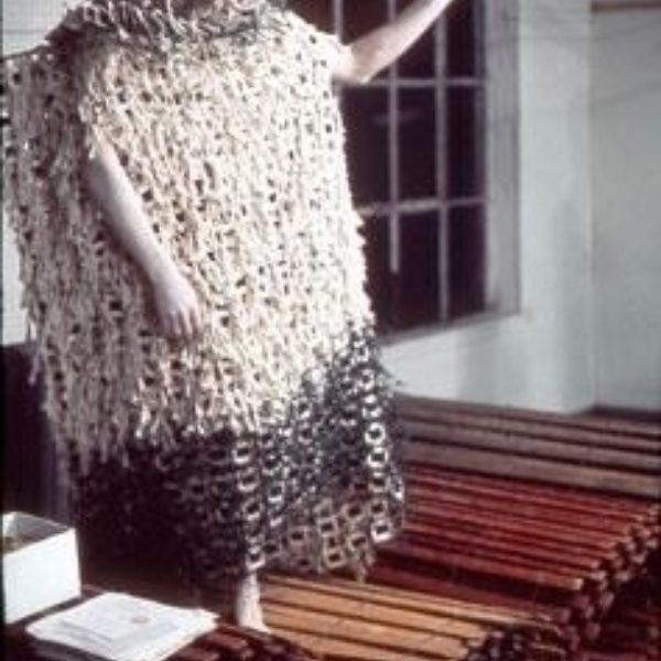 Stephen Varble in the Slide Dress performing as part of Geoffrey Hendricks' Attic Clouds at the Summit Art Center, New Jersey
